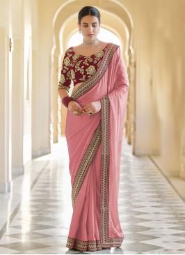 Pink Organza Patch Border Classic Designer Saree