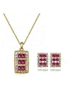 Pink Panorama Pendant Set with Stud Earrings