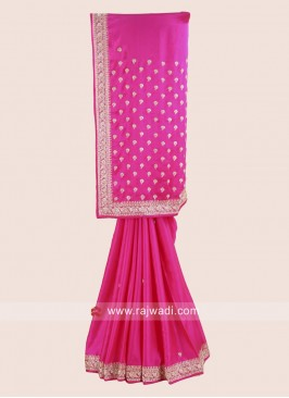 Pink Party Wear Satin Silk Saree