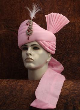 Pink Plain Safa For Baraatis