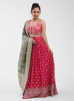 Pink Pleated Choli Suit For Wedding