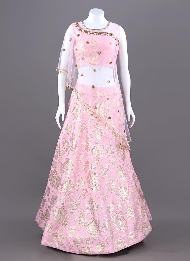 Pink Printed Lehenga with Asymmetric Style Choli