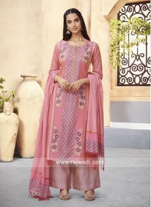 Pink Printed Palazzo Salwar Kameez