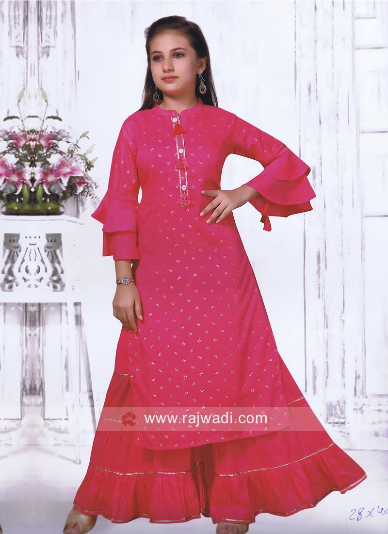 Pink Printed Palazzo Suit for Kids