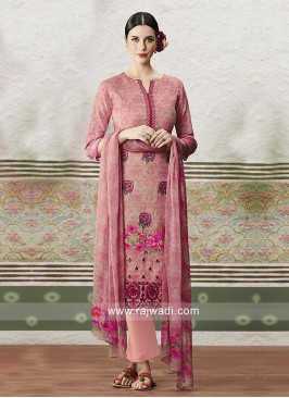 Pink Printed Straight Salwar Suit