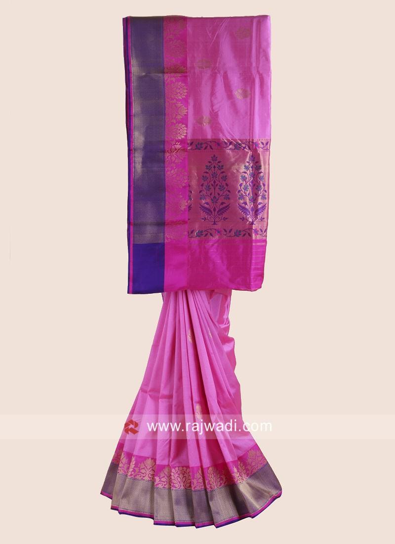 Pink Pure Silk Woven Saree