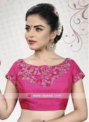 Pink Raw Silk Ready Choli