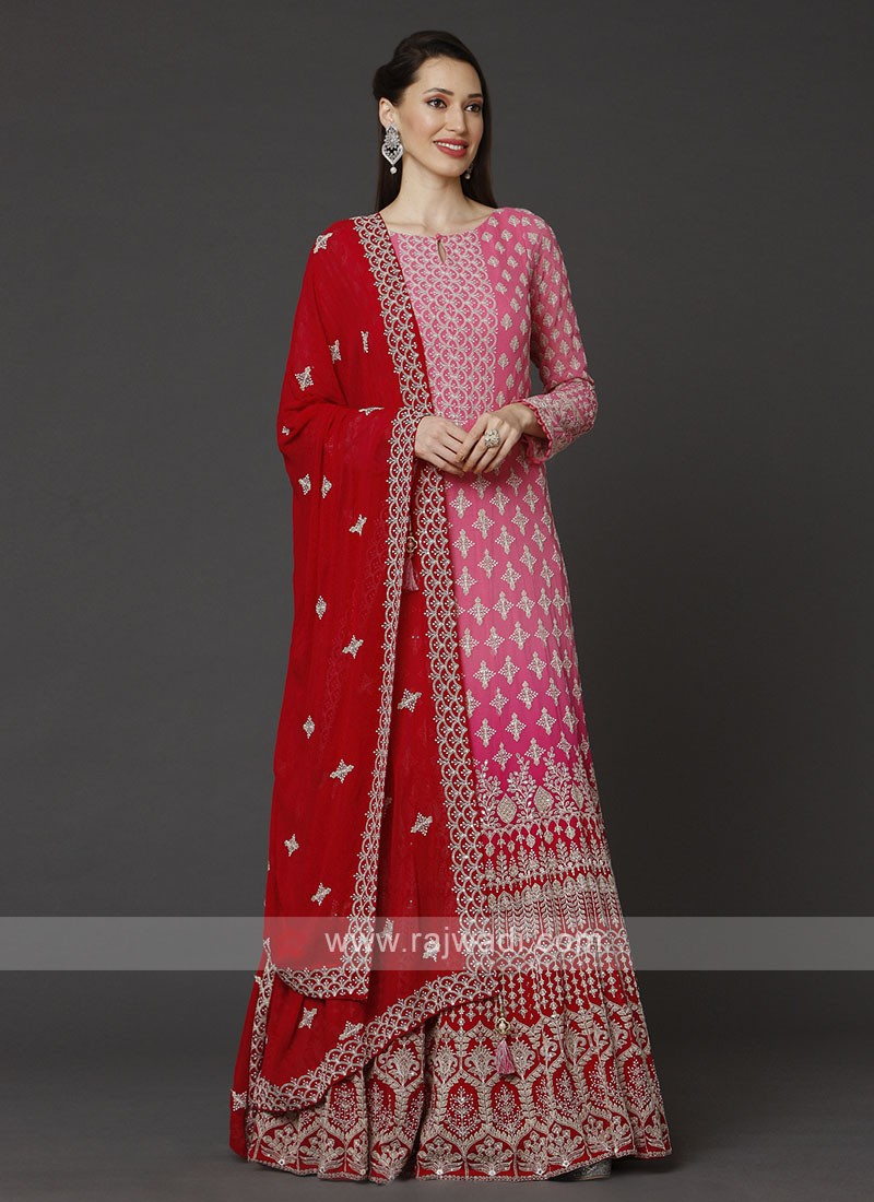 Pink & Red Anarkali Suit With Dupatta