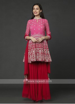 Pink & Red Gharara Suit With Dupatta