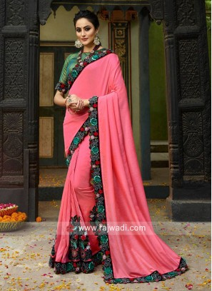 Pink Saree with Flower Work Border
