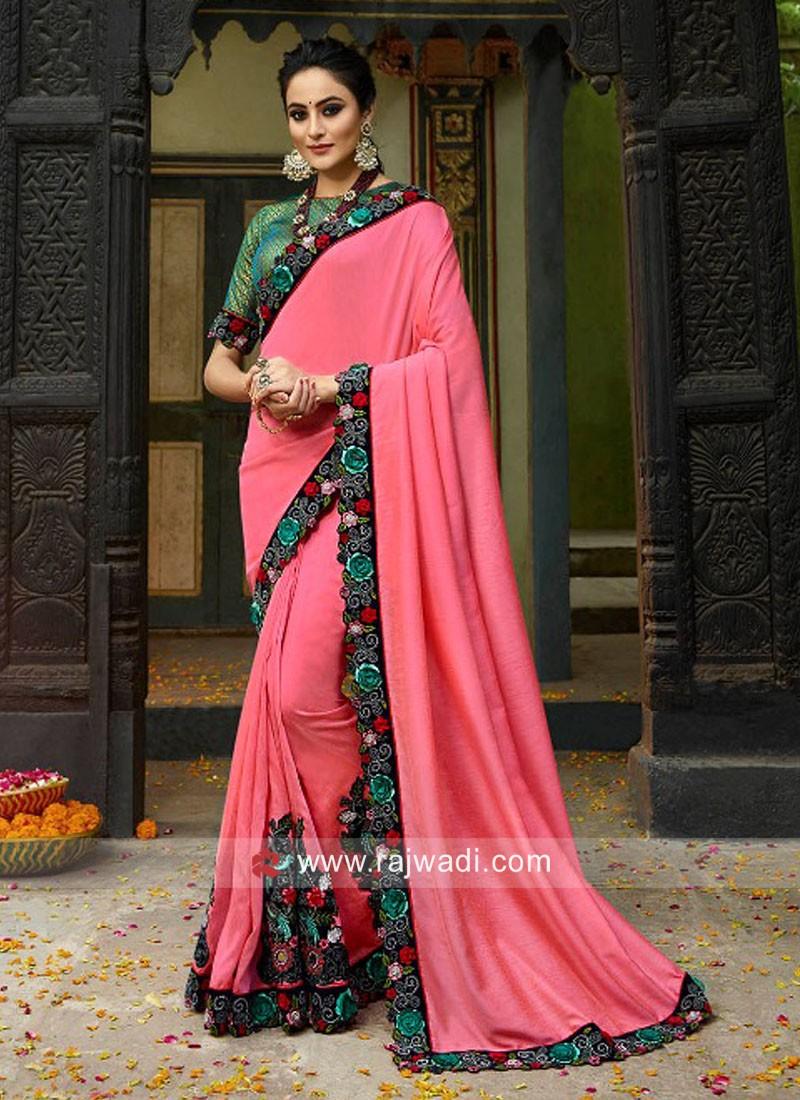 Pink Saree with Flower Work Border