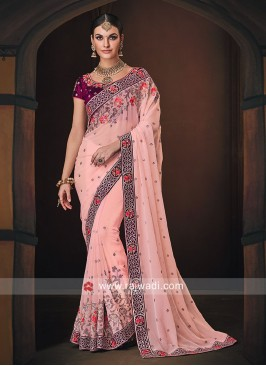 Pink Saree with Magenta Blouse