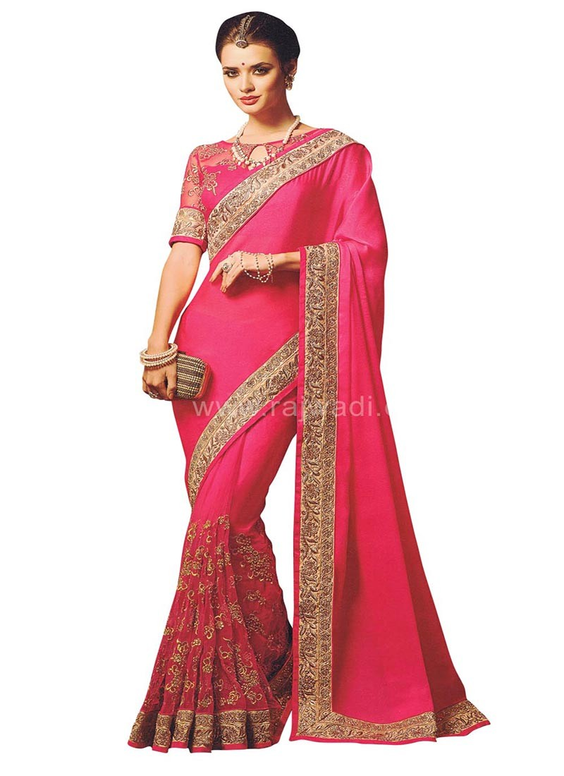 Pink Saree with Net Blouse
