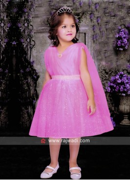 Pink Satin Net Short Dress