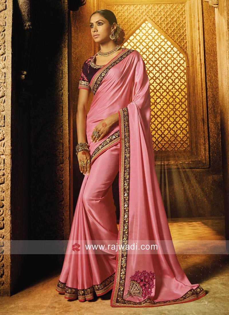 Pink Satin Saree with Blouse