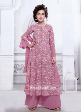 Pink Satin Silk and Net Palazzo Suit for Kids