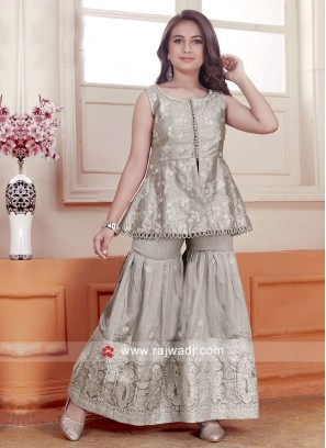 Grey Satin Silk and Net Palazzo Suit for Kids