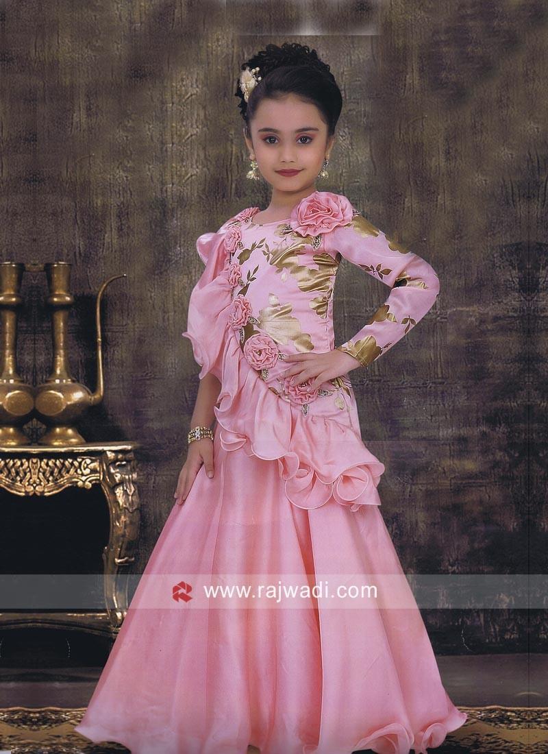 Pink Satin Silk Designer Kids Gown