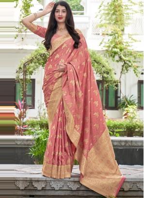 Pink Satin Silk Traditional Saree