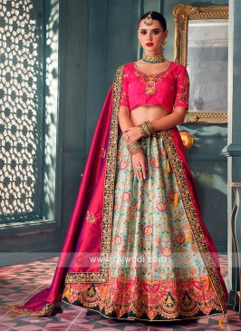 Pink & Sea Green Lehenga Choli
