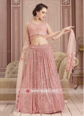 Pink Sequins Work Choli Suit For Party