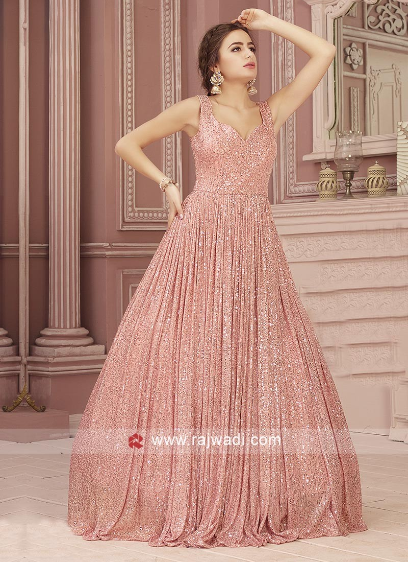 Pink Sequins Work Gown For Wedding