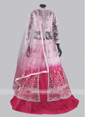 Pink Shaded Crop Top Lehenga with Long Jacket