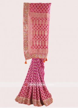 Pink Shaded Embroidered Saree