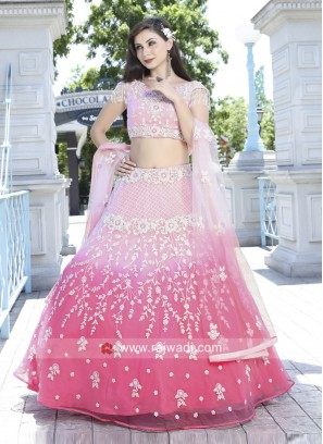 Pink Shaded Embroidery Lehenga Set
