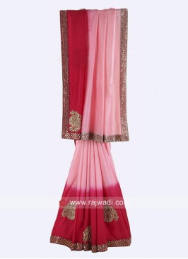 Pink Shaded Saree with Blouse
