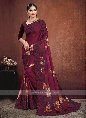 Pink Shaded Satin Georgette Saree