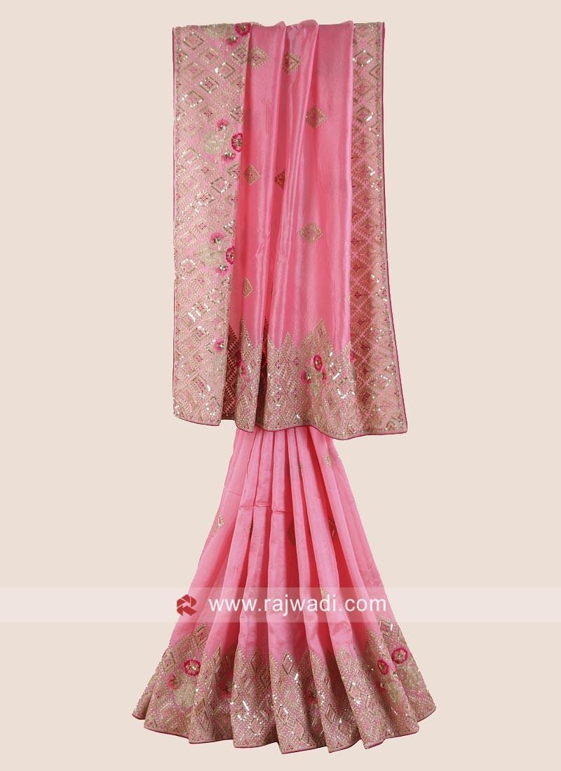 Pink Silk Saree with Raw Silk Blouse