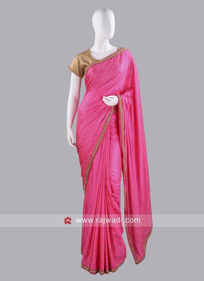 Pink Taffeta Silk Saree