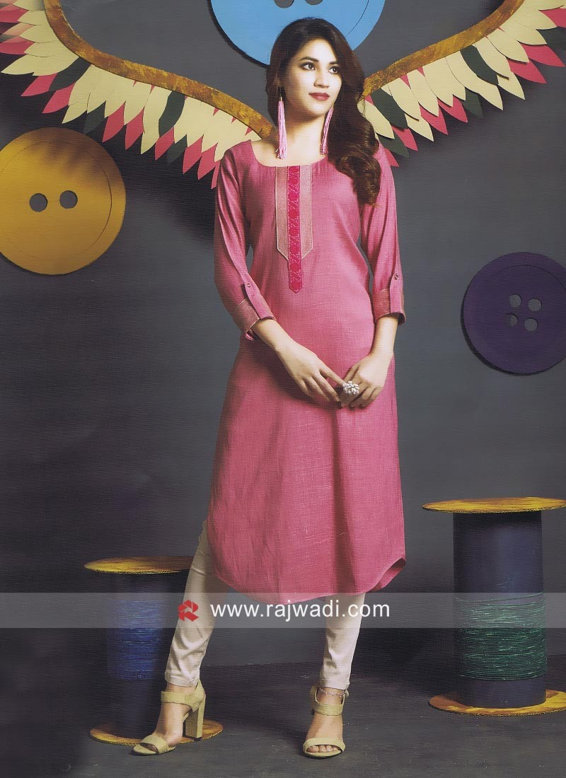 Pink thread Work Kurti