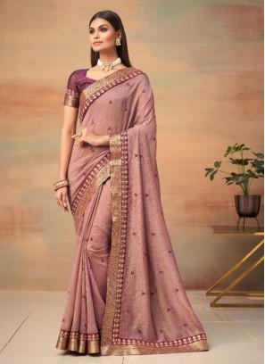 Pink Vichitra Silk Traditional Designer Saree