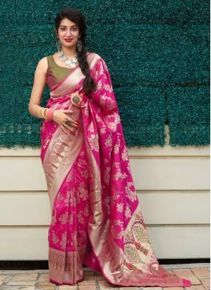 Pink Weaving Classic Designer Saree