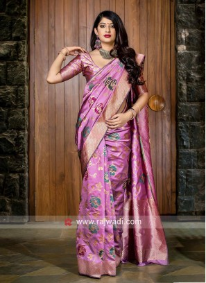Pink Weaving Saree with Blouse