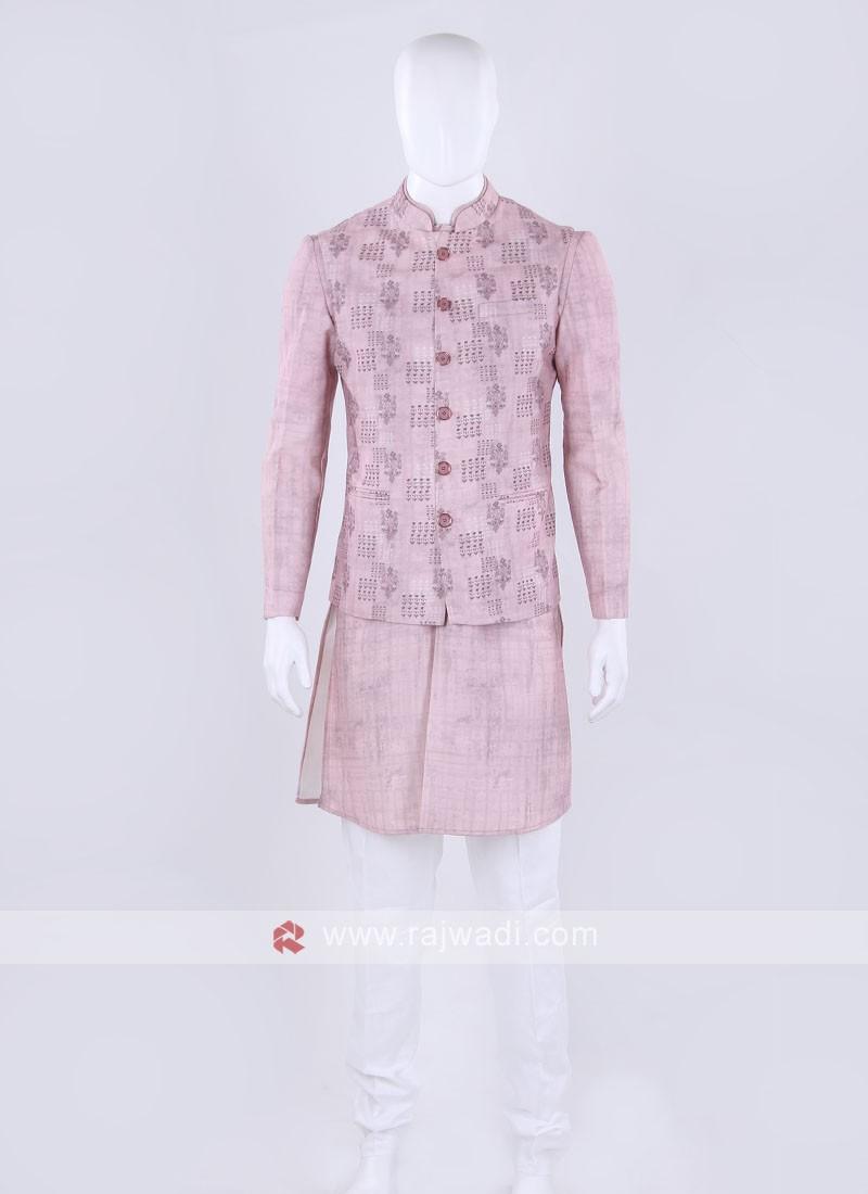 Pink & white color Nehru jacket