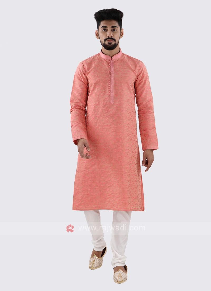 Pink & White Kurta Pajama For Men