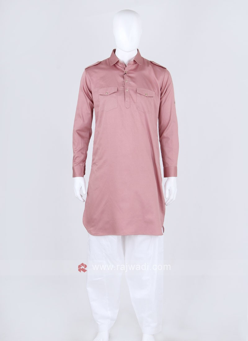 Pink & White Solid Pathani Suit