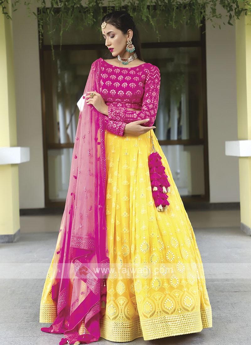 Pink & Yellow Lehenga Choli
