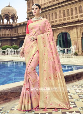 Pink Zari and Resham Woven Saree
