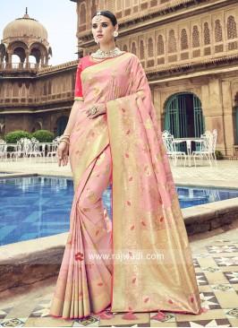 Pink Zari and Resham Woven Saree