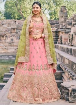 Pink Zari Handloom silk Lehenga Choli