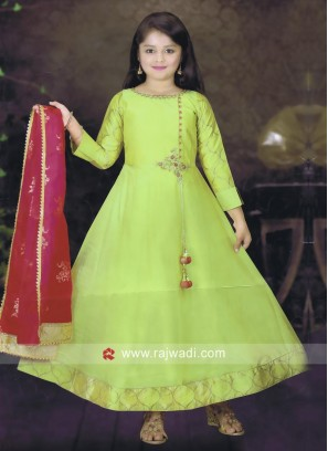 Pista Green Anarkali Suit for girls