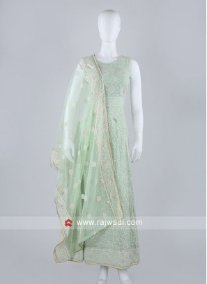 Pista Green Anarkali Suit With Dupatta