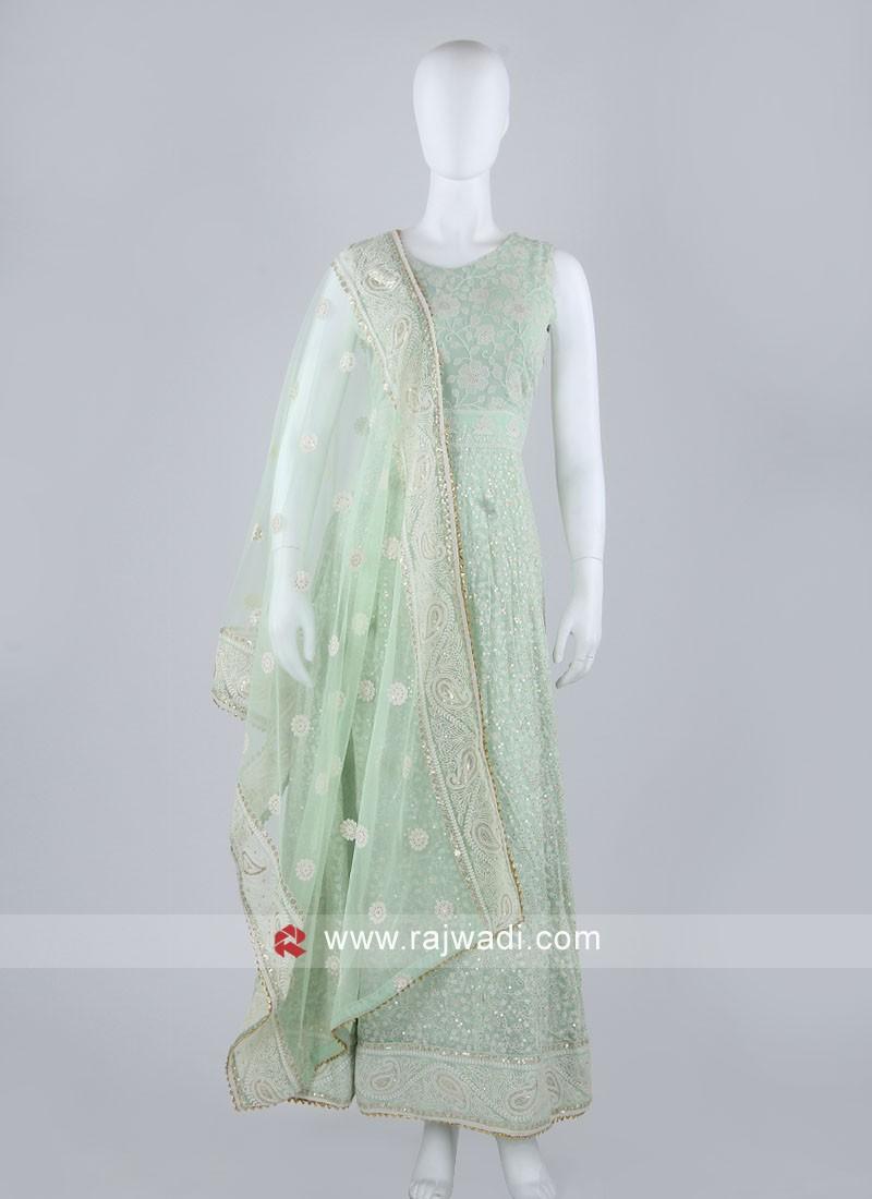 Pista Green Anarkali Suit With Dupatta
