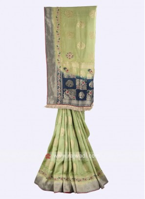 Pista green and blue color banarasi silk saree