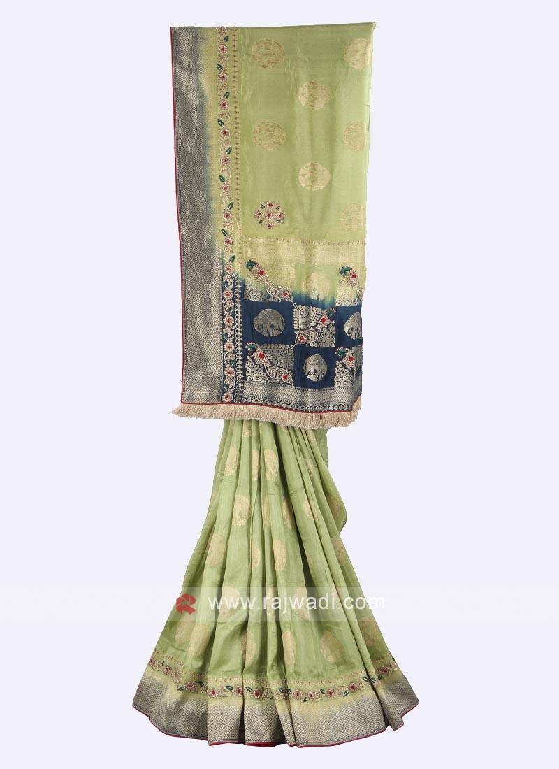 Pista green and blue color banarasi silk saree
