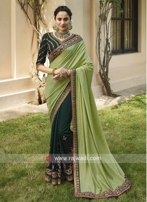 Pista Green and Bottle Green Half Saree
